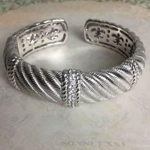 Judith Ripka Sterling Silver / CZ Bangle Bracelet